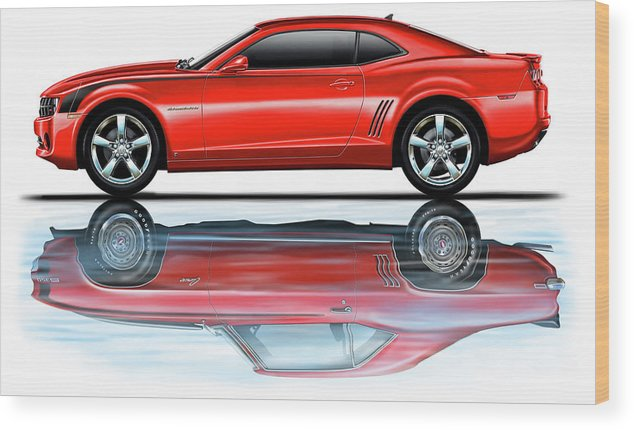 Camaro Wood Print featuring the digital art Camaro 2010 Reflects Old Red by David Kyte