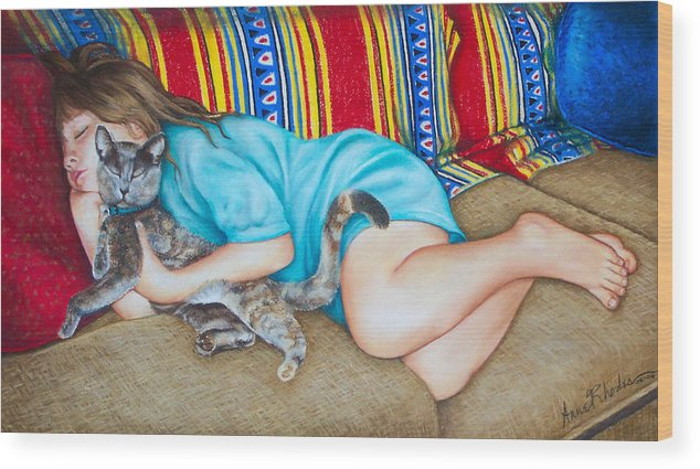 Portrait Wood Print featuring the painting Catnap by Anne Rhodes