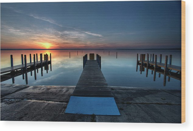 Dnr Wood Print featuring the photograph Dnr West Boat Launch Sunrise by Ron Wiltse