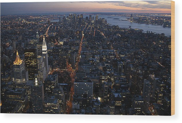 Manhattan Wood Print featuring the photograph Downtown From Midtown by Joshua Francia