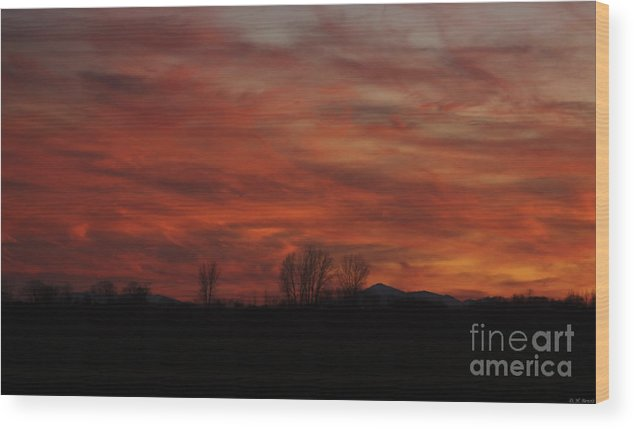 Sunset Wood Print featuring the photograph Evening In Red by Deborah Benoit