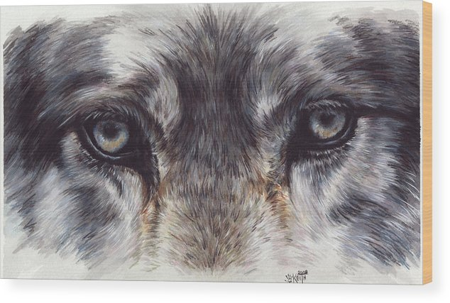 Wolf Wood Print featuring the painting Eye-catching Wolf by Barbara Keith