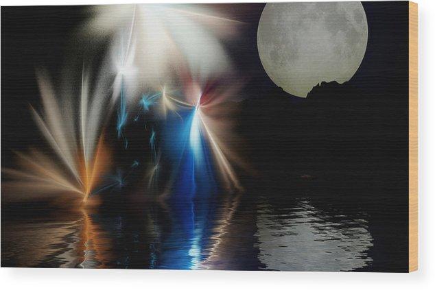 Digital Painting Wood Print featuring the digital art Fairy's Moonlight Ball by David Lane