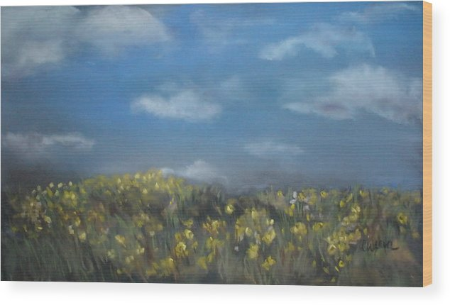 Landscape Wood Print featuring the painting Fields Of Gold by Cathy Weaver