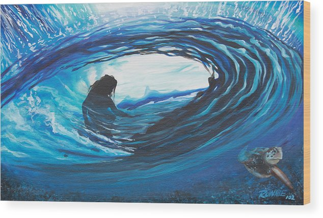 Surf Wood Print featuring the painting Glass Eye 2 by Ronnie Jackson