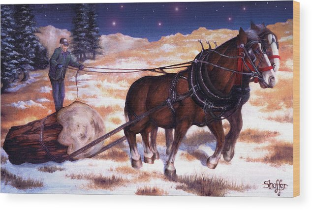 Horse Wood Print featuring the painting Horses Pulling Log by Curtiss Shaffer