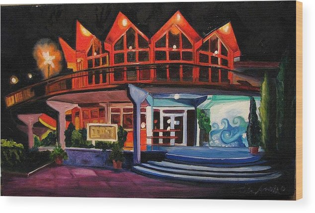 Asbury Art Wood Print featuring the painting Howard Johnsons At Night by Patricia Arroyo