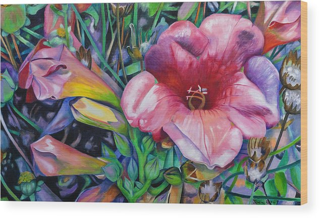 Flowers Wood Print featuring the painting Fragrant Blooms by Jeremy Holton