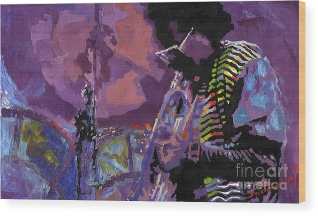 Jazz Wood Print featuring the painting Jazz.miles Davis.4. by Yuriy Shevchuk