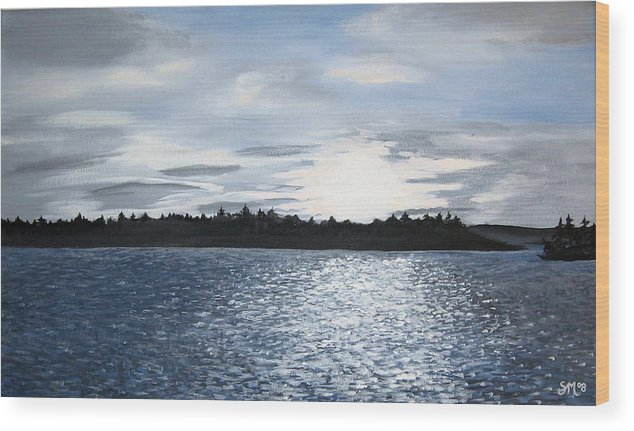 Lake Wood Print featuring the painting Lake At Sunset by Sharon Marcella Marston