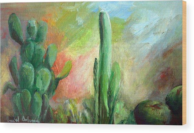 Floral Painting Wood Print featuring the painting Lumiere De Desert by Muriel Dolemieux