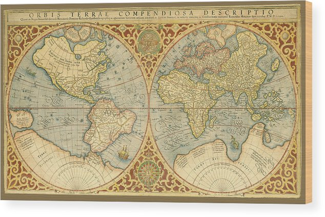 1587 World Map.Mercator 1587 World Map Wood Print By C H Apperson