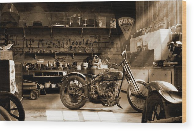 Motorcycle Wood Print featuring the photograph Old Motorcycle Shop by Mike McGlothlen
