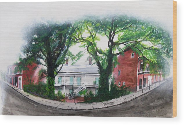Street Scene Wood Print featuring the painting Old Portage Road House. by Tom Hefko