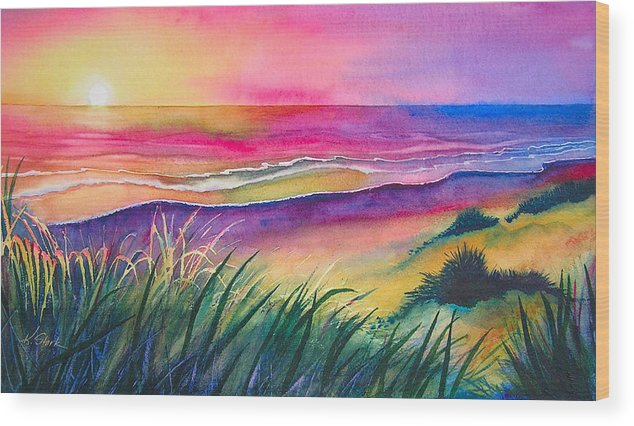 Pacific Wood Print featuring the painting Pacific Evening by Karen Stark