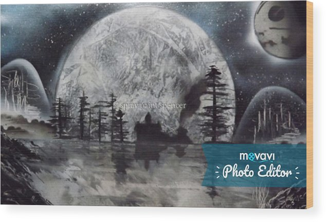 Star Wars Wood Print featuring the painting Peace In The Dark by Spencer Bishop