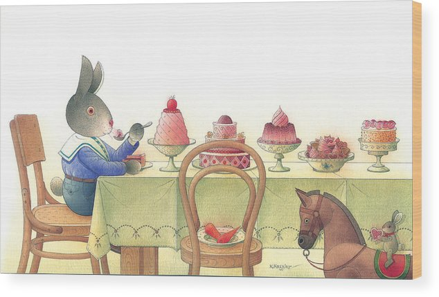 Rabbit Birthday Delicious Wood Print featuring the painting Rabbit Marcus The Great 10 by Kestutis Kasparavicius