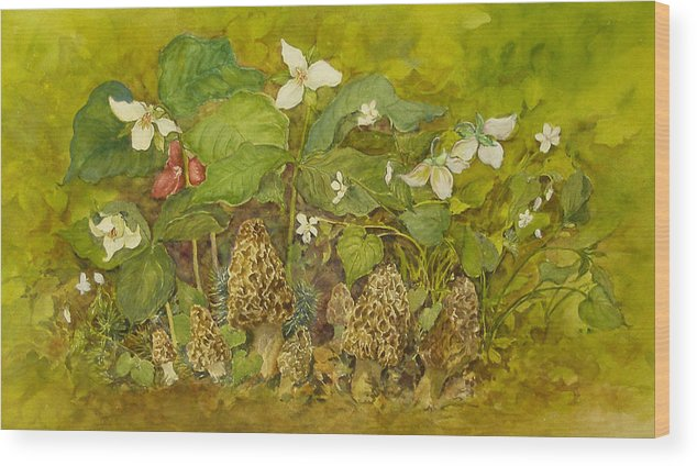 Mushrooms;trillium;spring;violets;woods;woodland;morels;watercolor Painting; Wood Print featuring the painting Ready For Pickin' by Lois Mountz