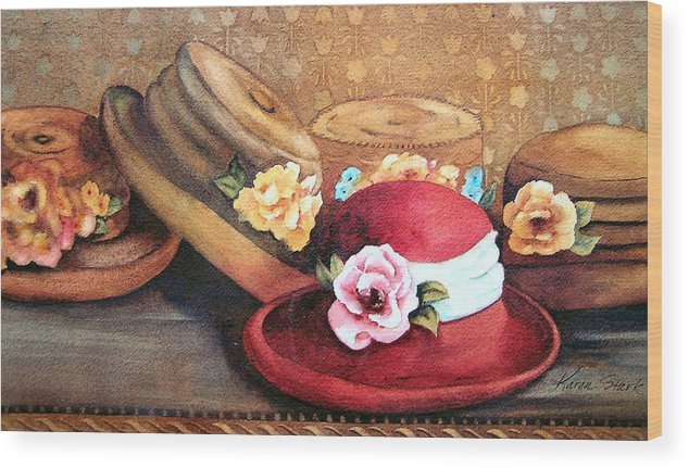 Hat Wood Print featuring the painting Red Hat by Karen Stark