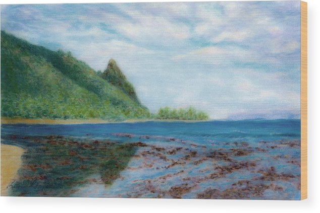 Rainbow Colors Pastel Wood Print featuring the painting Reef Walk by Kenneth Grzesik