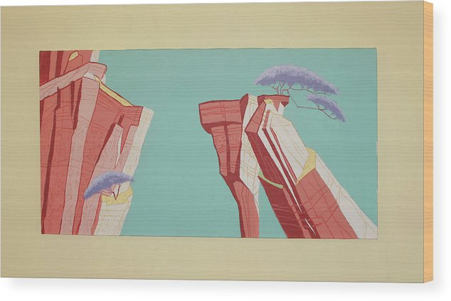 Maurice Noble Wood Print featuring the painting Road Runner Back Drop by Cole Dane