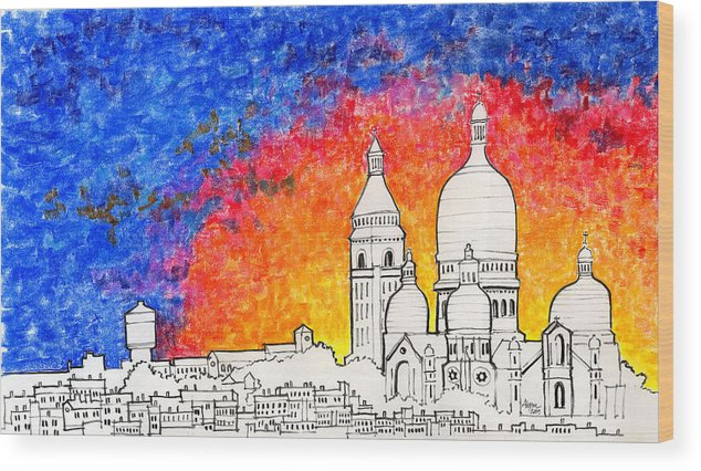 Sacre Coeur Wood Print featuring the pastel Sacre Coeur by Alyson Therrien