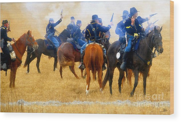 Indian Fighters Wood Print featuring the painting Seventh Cavalry In Action by David Lee Thompson