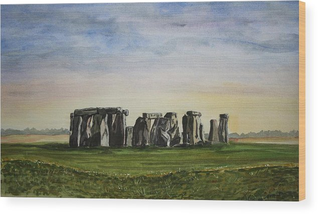 Stonehenge. Britian. Uk. England. Ancient. Wood Print featuring the painting Stonehenge by John Cox