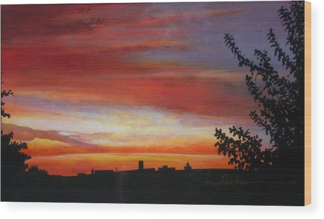 Sunrise Wood Print featuring the painting Sunrise Over The Little Miami by Anne Rhodes