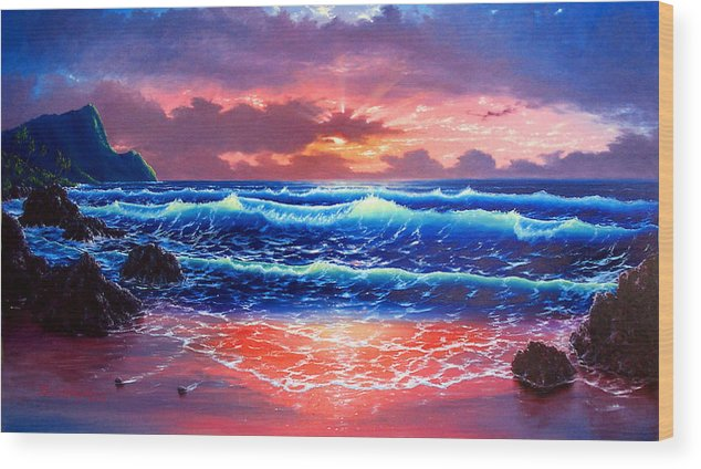 Sea Wood Print featuring the painting Sunset by Daniel Bergren