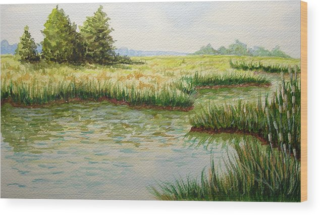 Landscape Wood Print featuring the painting The Marshes by JoAnne Castelli-Castor