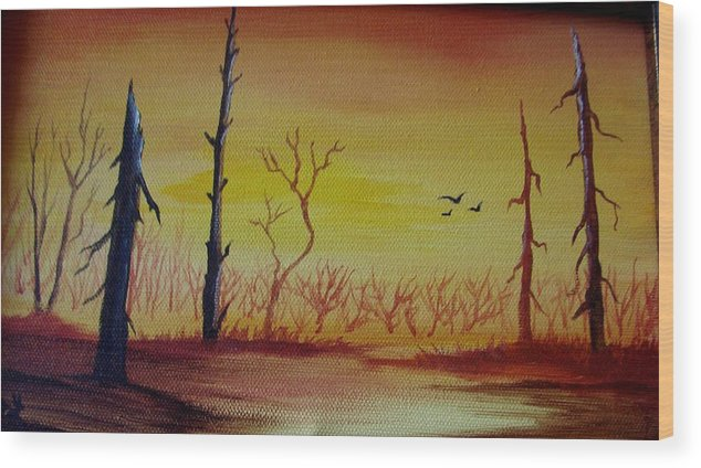 Landscape Wood Print featuring the painting The New Beginning by Glory Fraulein Wolfe