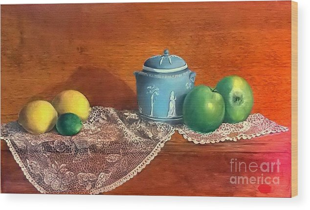 Still Life Wood Print featuring the painting The Spice Jar by Patricia Lang