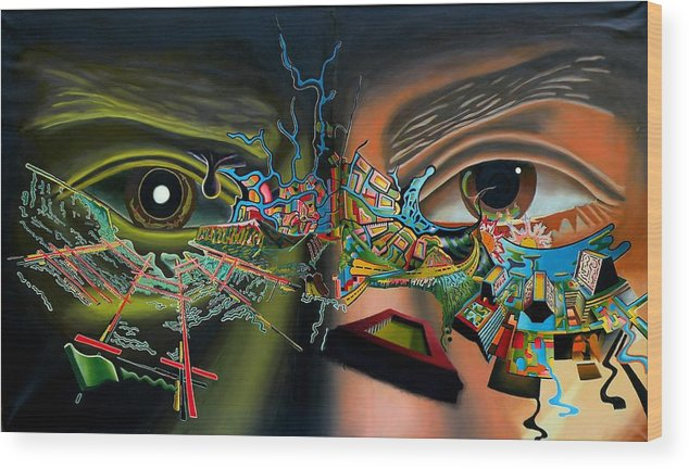 Surreal Wood Print featuring the painting The Surreal Bridge by Dave Martsolf