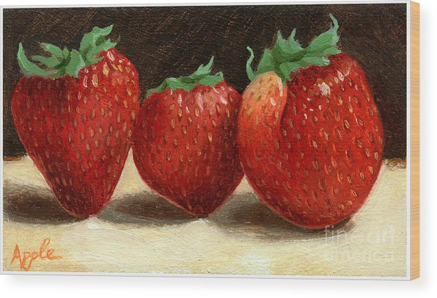 Fruit Artworkpainting Wood Print featuring the painting The Three Graces by Linda Apple