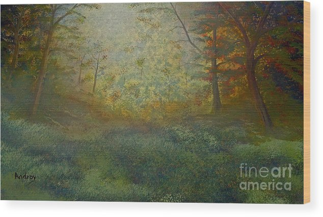 Trees Wood Print featuring the painting Tranquility by Todd Androy