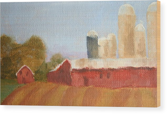 Wisconsin Wood Print featuring the painting Wisconsin Farmland by Martha Layton Smith