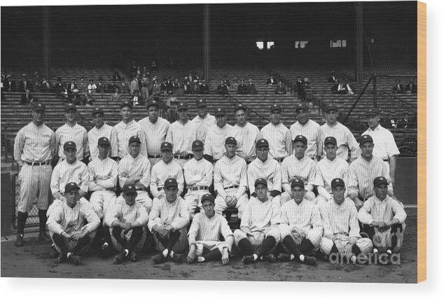 People Wood Print featuring the photograph New York Yankees by Transcendental Graphics