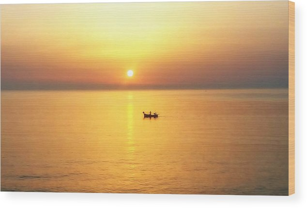 Landscape Wood Print featuring the photograph Sunrise Over Banyuls by Ariaa Jaeger