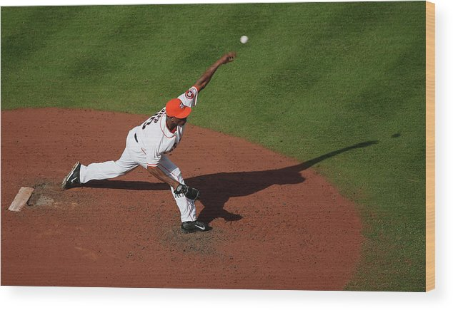 American League Baseball Wood Print featuring the photograph Chicago White Sox V Houston Astros 7 by Scott Halleran