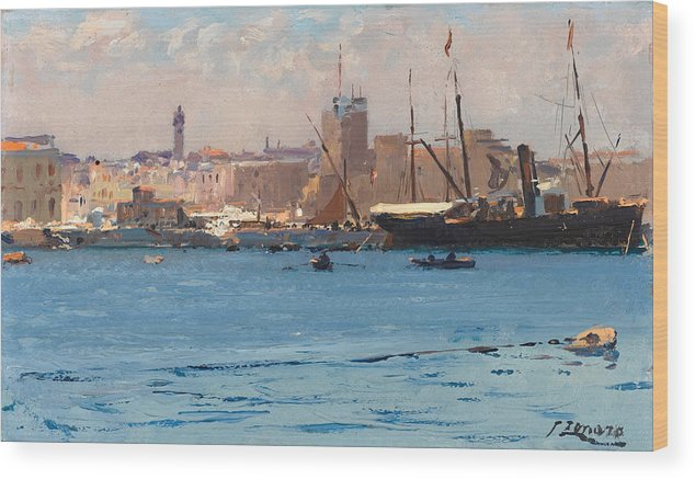 Fausto Zonaro Wood Print featuring the painting Boats In A Port by Fausto Zonaro