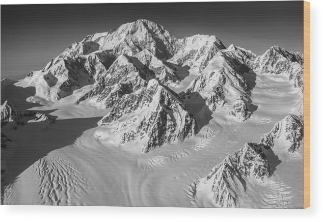 Denali Wood Print featuring the photograph Denali And The Kahiltna Glacier Black And White by Alasdair Turner