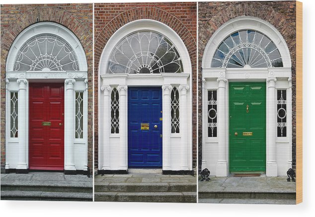 Georgian Doors Dublin Wood Print featuring the photograph Georgian Doors - Dublin - Ireland by Jane & Georgian Doors - Dublin - Ireland Wood Print by Jane McIlroy
