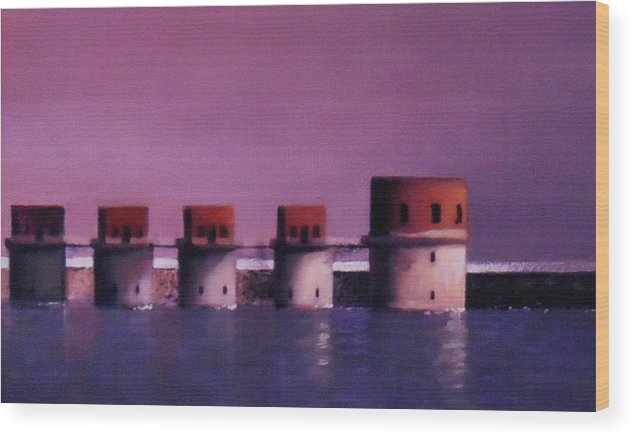 Lake Murray Wood Print featuring the painting Lake Murray Towers In Evening by Blue Sky