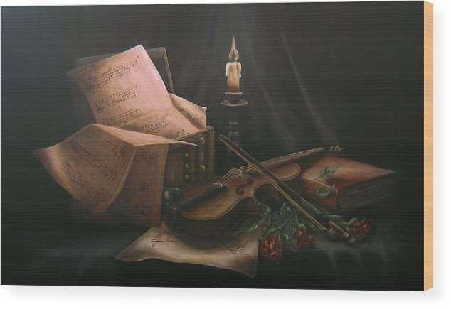Still Life Wood Print featuring the painting Next To Bach's Musical Scores by Andreja Dujnic