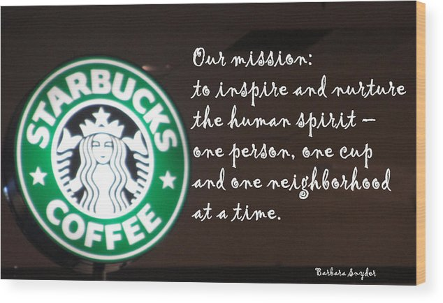 Barbara Snyder Wood Print featuring the digital art Starbucks Mission by Barbara Snyder