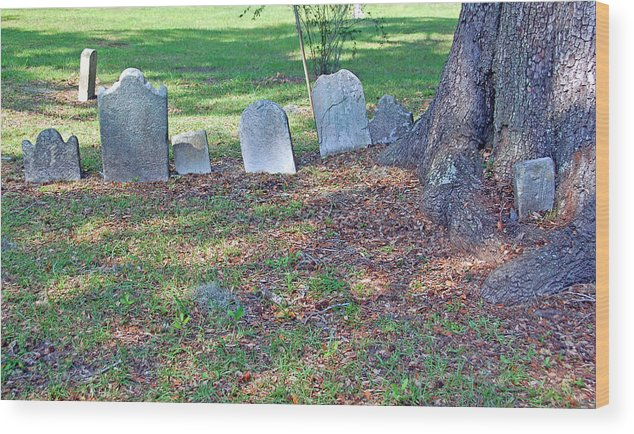 Grave Wood Print featuring the photograph The Headstones Of Slaves by Suzanne Gaff