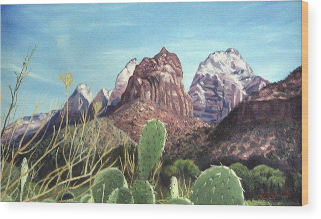 Zion Wood Print featuring the painting Zion National Park by Sharon Casavant