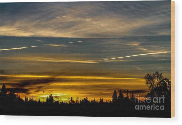 Suburban Sunrise Wood Print featuring the photograph Suburban Sunrise by Mitch Shindelbower