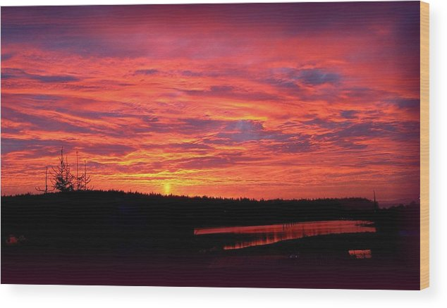 Sunrise Wood Print featuring the photograph Sunrise Over Miller Bay by Sandra Maddox